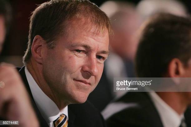 Executive Vice President and General Manager Kevin Lowe of the Edmonton Oilers looks on during the National Hockey League draft lottery at the...