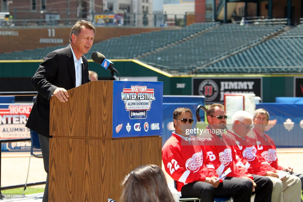 Executive Vice President and General Manager of the Detroit Red Wings <a gi-track='captionPersonalityLinkClicked' href=/galleries/search?phrase=Ken+Holland&family=editorial&specificpeople=543234 ng-click='$event.stopPropagation()'>Ken Holland</a> talks to the media about the addition of a second Alumni game against the Toronto Maple Leafs Alumni during the NHL Winter Classic-Hockey Town Winter Festival press conference at Comerica Park on July 11, 2012 in Detroit, Michigan.
