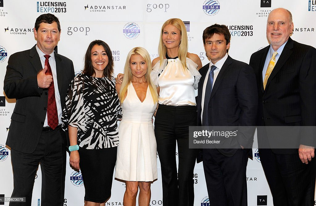 Executive Vice President, Customer Development & President of Licensing Expo Chris DeMoulin, Vice President of Licensing Expo Jessica Blue, fitness expert Tracy Anderson, actress Gwyneth Paltrow, Advanstar CEO Joe Loggia and Editorial Director of License! Global Tony Lisanti appear after Paltrow delivered a keynote address at Licensing Expo 2013 at the Mandalay Bay Convention Center on June 18, 2013 in Las Vegas, Nevada.