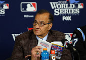 MLB executive vice president for baseball operations Joe Torre participates in a news conference regarding the obstruction call against Will...
