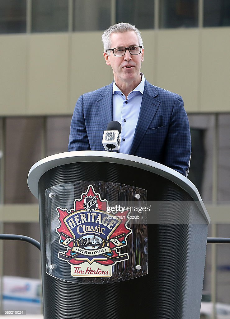 Executive Vice President Marketing and CMO Brian Jennings speaks during the 2016 NHL Heritage Classic press conference held at the Outdoor Plaza at...