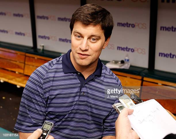 Executive Vice President of Baseball Operations Andrew Friedman of the Tampa Bay Rays talks with reporters just prior to the start of the game...