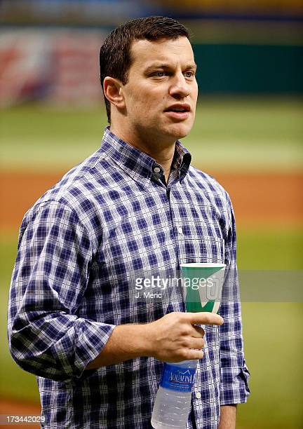 Executive Vice President of Baseball Operations Andrew Friedman of the Tampa Bay Rays watches pitcher Alex Cobb throw just before the game against...
