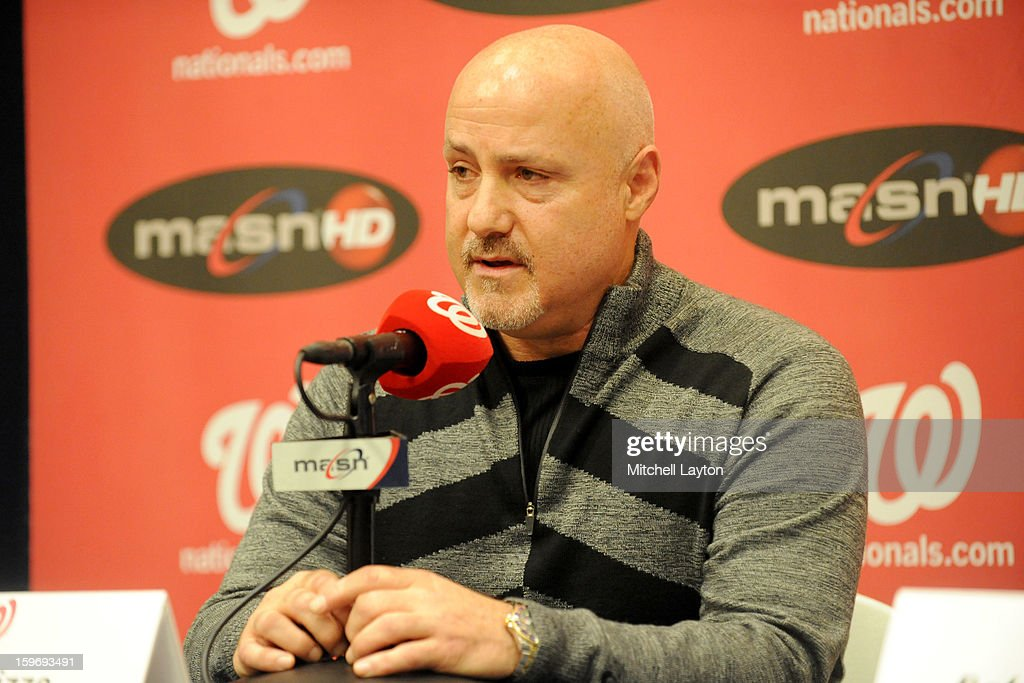 Executive Vice President of baseball operations Mike Rizzo address the media during Rafael Soriano introduction press conference on January 17, 2013 at Nationals Park in Washington, DC.