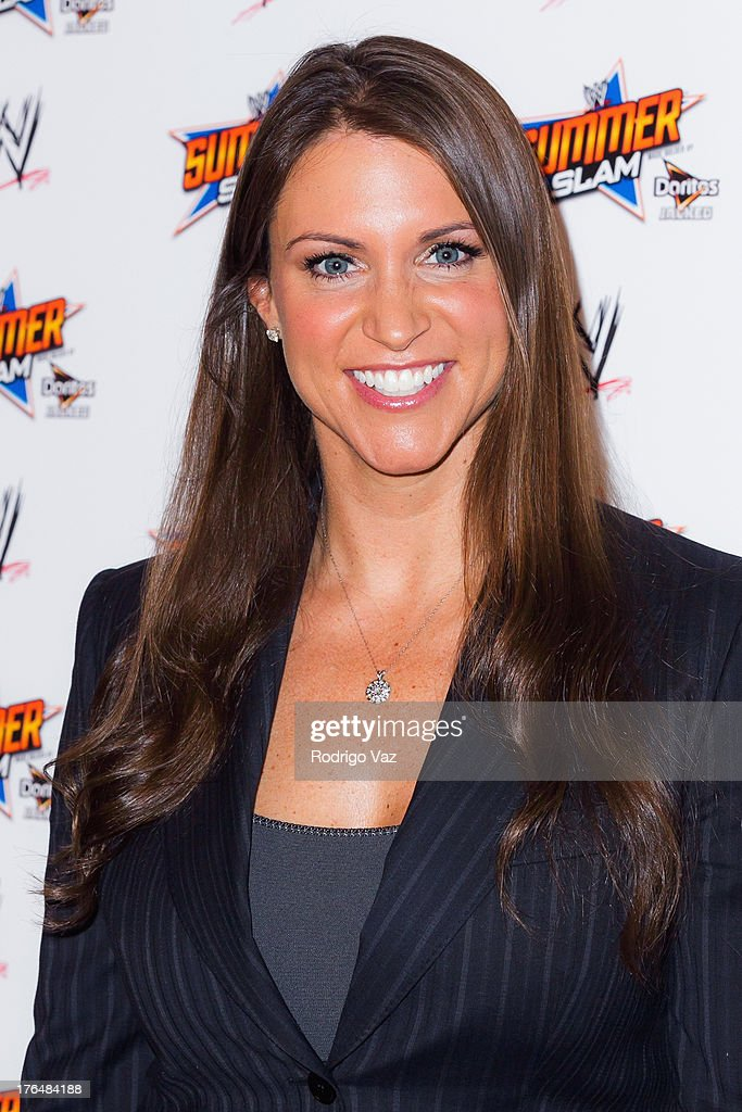 Executive Vice President of Creative <a gi-track='captionPersonalityLinkClicked' href=/galleries/search?phrase=Stephanie+McMahon&family=editorial&specificpeople=2647436 ng-click='$event.stopPropagation()'>Stephanie McMahon</a> attends the WWE SummerSlam Press Conference at Beverly Hills Hotel on August 13, 2013 in Beverly Hills, California.