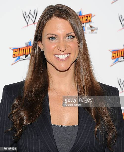 Executive Vice President of Creative Stephanie McMahon attends the WWE SummerSlam press conference at Beverly Hills Hotel on August 13 2013 in...