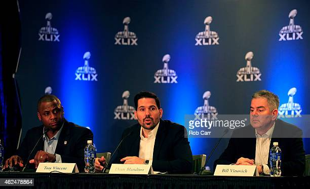 NFL Executive Vice President of Football Operations Troy Vincent NFL Vice President of Officiating Dean Blandino and Super Bowl XLIX referee Bill...
