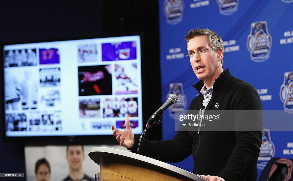 Executive Vice President of Marketing Brian Jennings host a media interview session during the Winter Classic BuildOut on December 28 2011 at...