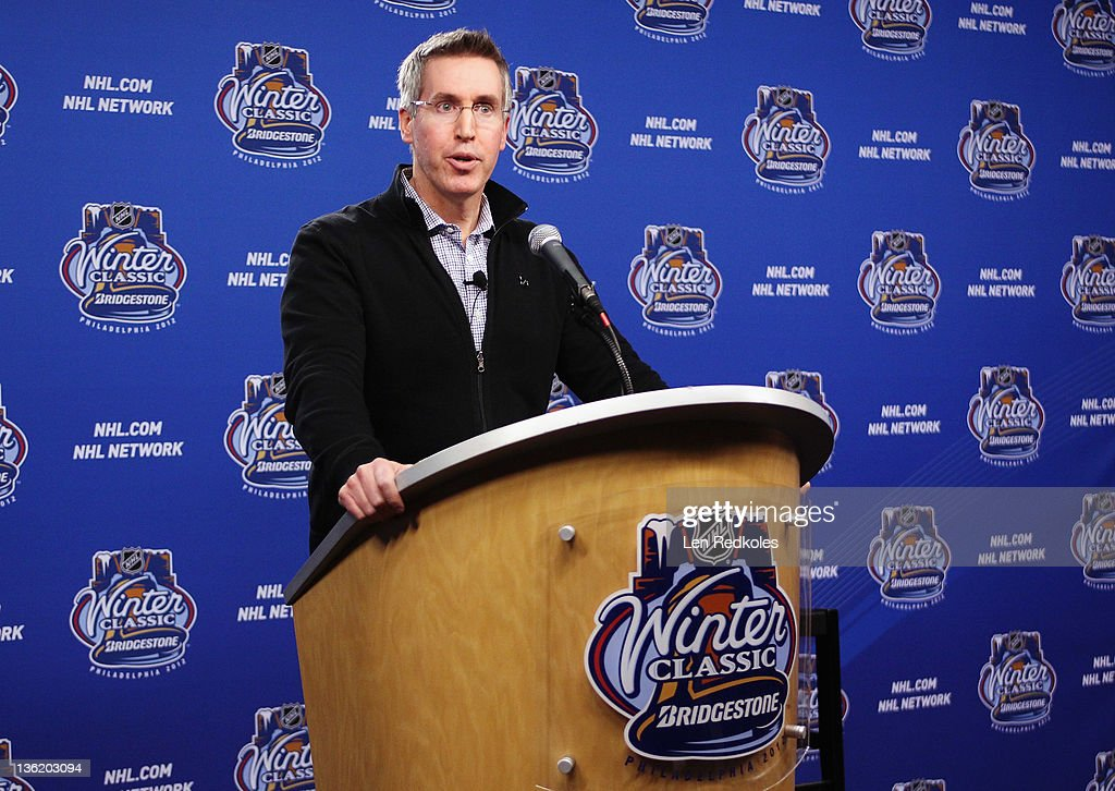 Executive Vice President of Marketing Brian Jennings hosts a media interview session during the Winter Classic BuildOut on December 28 2011 at...