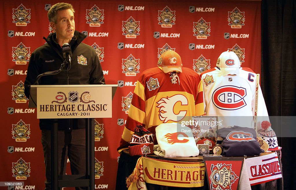 Executive Vice President of Marketing for the NHL Brian Jennings speaks at a press conference about merchandising at McMahon Stadium during 2011 Tim...
