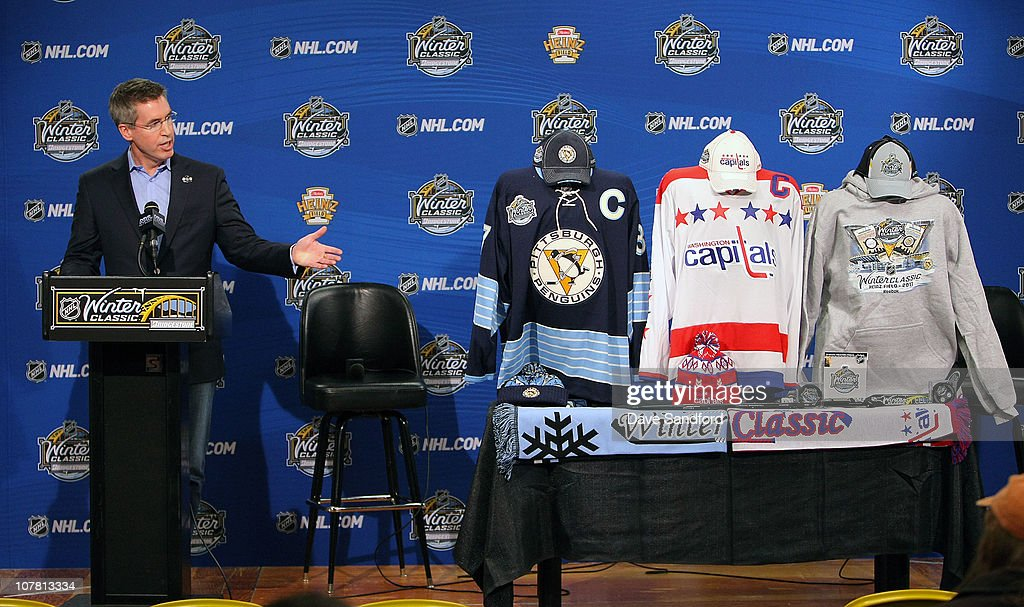 Executive Vice President of Marketing for the NHL Brian Jennings speakes to media in preparation for the 2011 Bridgestone NHL Winter Classic at Heinz...