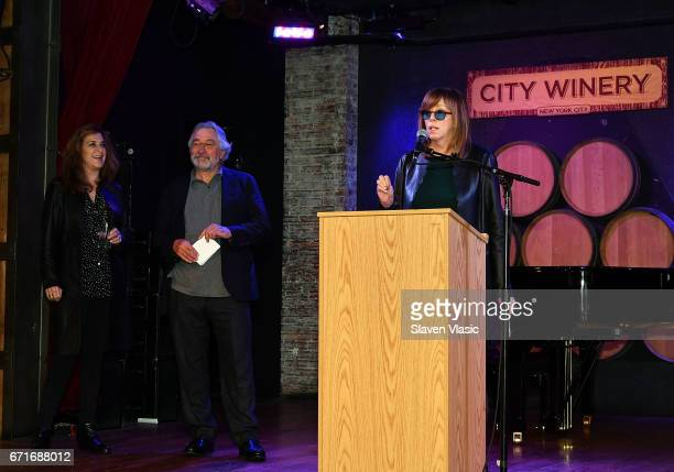 Executive Vice President of Tribeca Enterprises Paula Weinstein with cofounders of Tribeca Film Festival Robert De Niro and Jane Rosenthal attend...