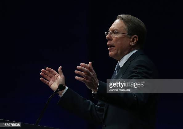 NRA executive vice president Wayne LaPierre speaks during the 2013 NRA Annual Meeting and Exhibits at the George R Brown Convention Center on May 3...