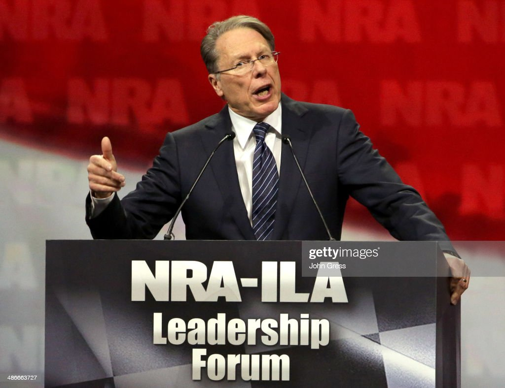 Executive Vice President <a gi-track='captionPersonalityLinkClicked' href=/galleries/search?phrase=Wayne+LaPierre&family=editorial&specificpeople=2488494 ng-click='$event.stopPropagation()'>Wayne LaPierre</a> speaks during the National Rifle Association Annual Meeting Leadership Forum on April 25, 2014 in Indianapolis, Indiana. The NRA annual meeting runs from April 25-27.