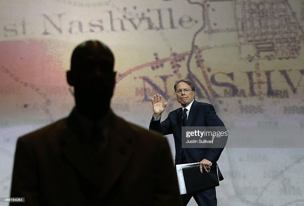 NRA executive vice president <a gi-track='captionPersonalityLinkClicked' href=/galleries/search?phrase=Wayne+LaPierre&family=editorial&specificpeople=2488494 ng-click='$event.stopPropagation()'>Wayne LaPierre</a> speaks during the NRA-ILA Leadership Forum at the 2015 NRA Annual Meeting & Exhibits on April 10, 2015 in Nashville, Tennessee. The annual NRA meeting and exhibit runs through Sunday.