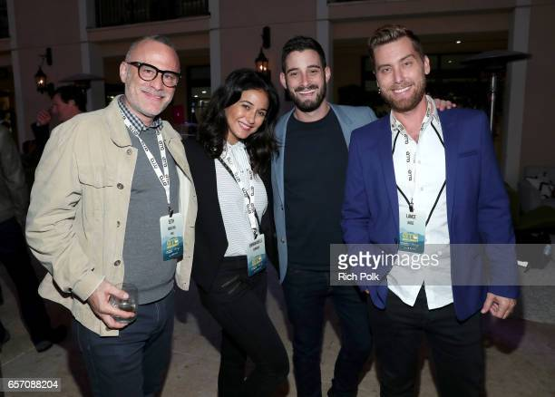 WME Executive VP of Branded Impact Seth Matlin actor/activist Emmanuelle Chriqui actor Michael Turchin and musician/activist Lance Bass attend the...