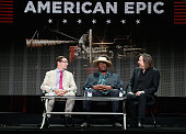 Executiveincharge Stephen Segaller musician Taj Mahal and filmmaker Bernard MacMahon speak onstage during the 'American Epic' panel discussion at the...