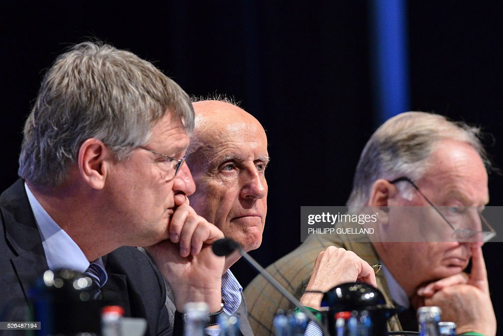AFD executives Joerg Meuthen, Albrecht Glaser and Alexander Gauland attend a party congress of the German right wing party AfD (Alternative fuer Deutschland) at the Stuttgart Congress Centre ICS on April 30, 2016 in Stuttgart, southern Germany. The Alternative for Germany (AfD) party is meeting in the western city of Stuttgart, where it is expected to adopt an anti-Islamic manifesto, emboldened by the rise of European anti-migrant groups like Austria's Freedom Party. / AFP / Philipp GUELLAND