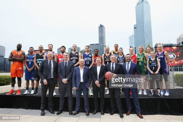 Executives Ned Coaten and Anthony Moore from Basketball Australia NBL owner Larry Kestelman Peter Tonagh from News Corp Patrick Delany from Fox...
