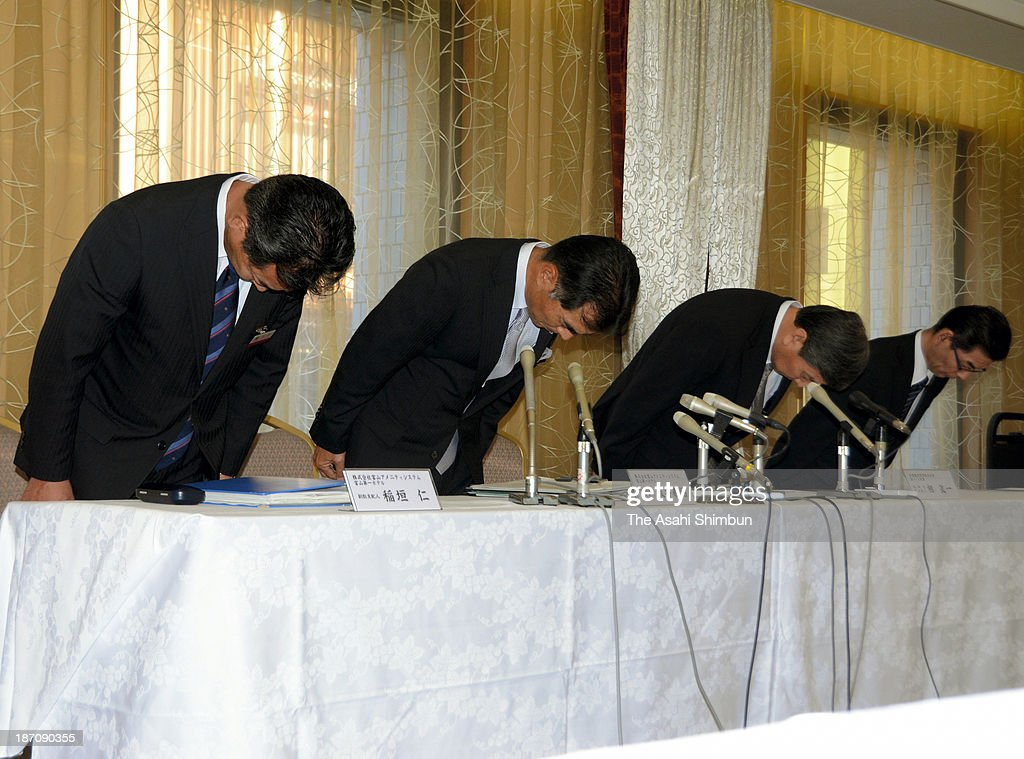 Executives of Toyama Daiichi Hotel and Daiichi Inn Shinminato bow for apology during a press conference on November 5, 2013 in Toyama, Japan. The restaurant of the hotels had offered the beef 'steak', actually processed meat sprayed with beef cattle tallow. The latest menu mislabeling scandal surfaced late last month, when Hankyu Hanshin Hotels Co. announced that 47 food items served at its hotels, became a nationwide growing scandal that has sparked consumer outrage and prompted government calls for industry-wide investigations. Japan has no legislation stipulating clear standards for menu displays at restaurants, meaning that the companies did not necessarily violate the law.