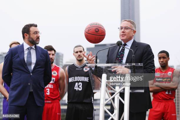 Executives Patrick Delany from Fox Sports and Jeremy Loeliger from NBL speak on stage during the 2017/18 NBL and WNBL Season Launch at Crown Towers...
