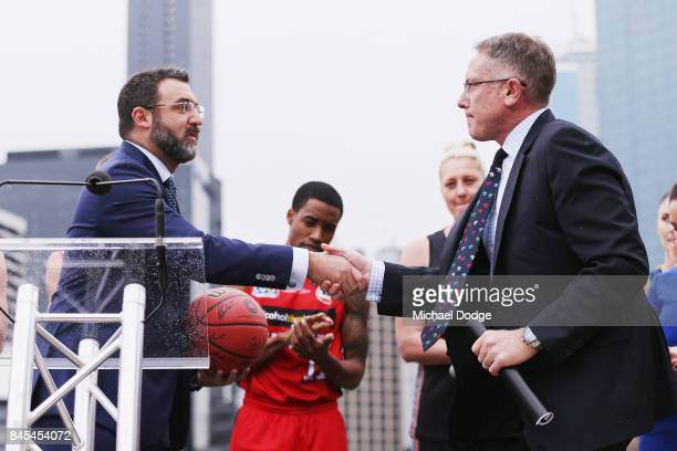 Executives Patrick Delany from Fox Sports and Jeremy Loeliger on stage during the 2017/18 NBL and WNBL Season Launch at Crown Towers on September 11...