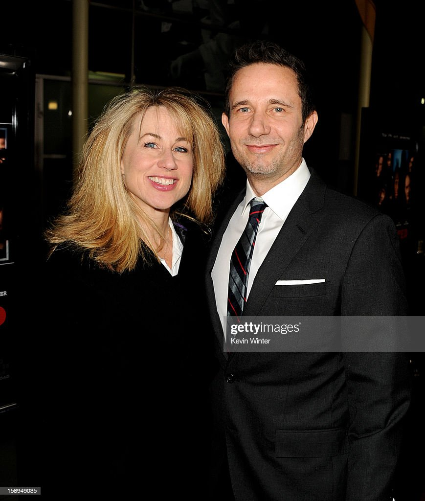 Execututive producer Lisa Blum (L) and co-writer/producer Rick Alvarez arrive at the premiere of Open Road Films' 'A Haunted House' at the Arclight Theatre on January 3, 2013 in Los Angeles, California.