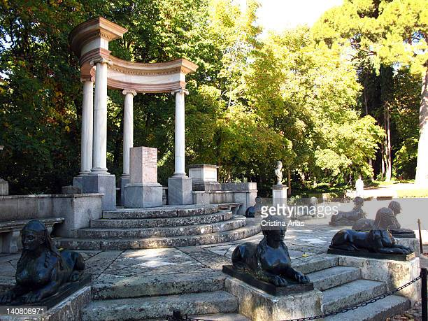 Exedra situated in the Plaza of the Emperors in the Capricho Park this Momument consists of a small open pavilion supported by Ionic columns and...