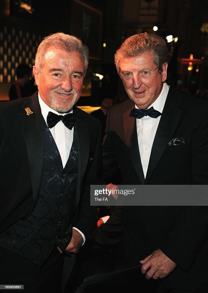 Ex-England manager <a gi-track='captionPersonalityLinkClicked' href=/galleries/search?phrase=Terry+Venables&family=editorial&specificpeople=240288 ng-click='$event.stopPropagation()'>Terry Venables</a> poses with current manager <a gi-track='captionPersonalityLinkClicked' href=/galleries/search?phrase=Roy+Hodgson&family=editorial&specificpeople=881703 ng-click='$event.stopPropagation()'>Roy Hodgson</a> during the FA150 Gala Dinner commemorating the Football Association's 150th year at the Grand Connaught Rooms on October 26, 2013 in London, England.