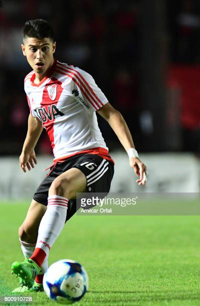 Exequiel Palacios of River Plate drives the ball during a match between Colon and River Plate as part of Torneo Primera Division 2016/17 at Brigadier...