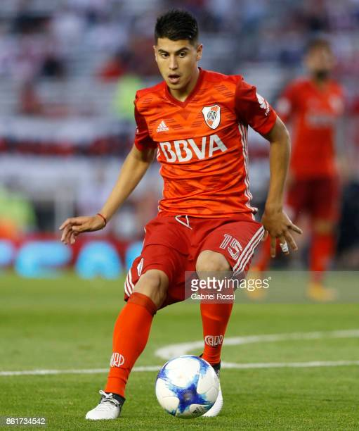 Exequiel Palacios of River Plate kicks the ball during a match between River Plate and Atletico de Tucuman as part of Superliga 2017/18 at Monumental...