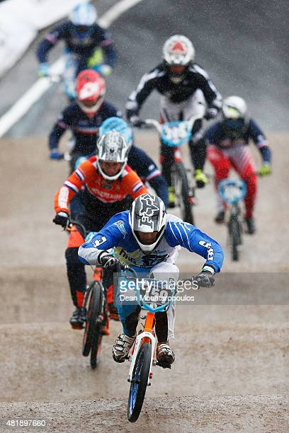 Exequiel Torres of Argentina in the Mens junior qualifying quarter final motos during day 5 of the UCI BMX World Championships at on July 25 2015 in...