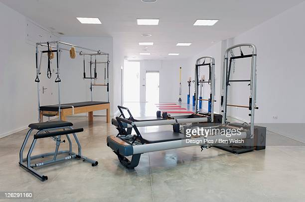 exercise equipment in a workout room