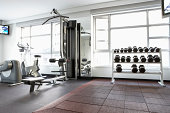 Exercise machines and weights in gym