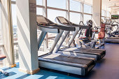 Exercise machines in a gym