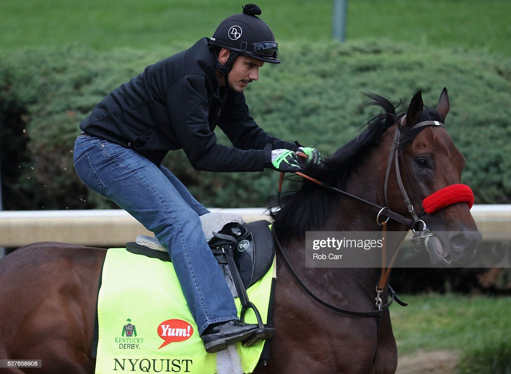 Exercise rider Jonny Garcia takes Nyquist over the track during training for the Kentucky Derby at Churchill Downs on May 03, 2016 in Louisville, Kentucky.