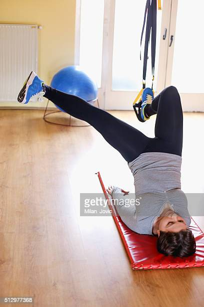 Exercise with hanging fitness belt