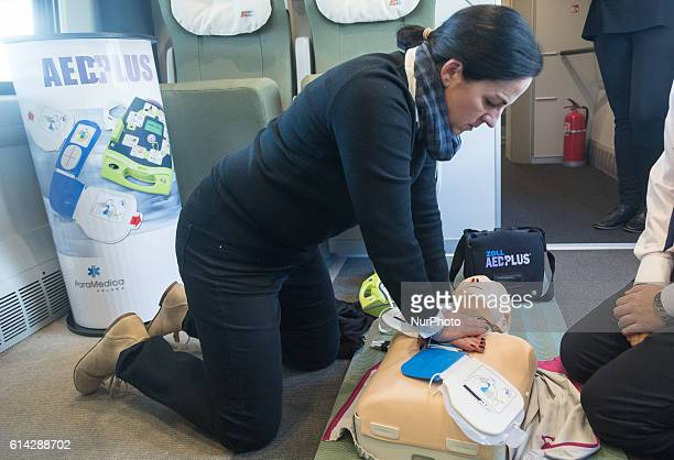 AED exercises in train at Warsaw East Station in Warsaw Poland on 13 October 2016