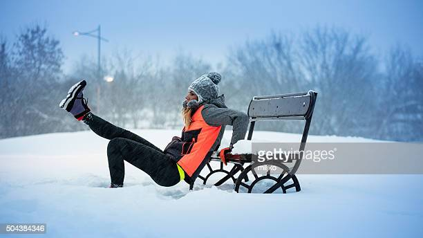 Exercising at snow in nature