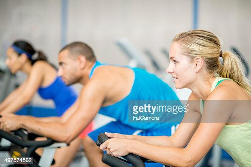 Exercising on a Bike in the Gym