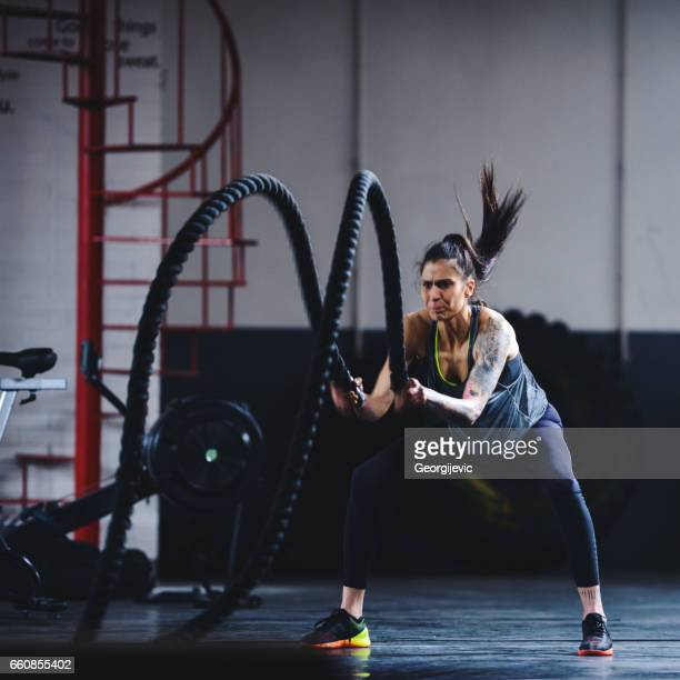 Exercising with heavy ropes