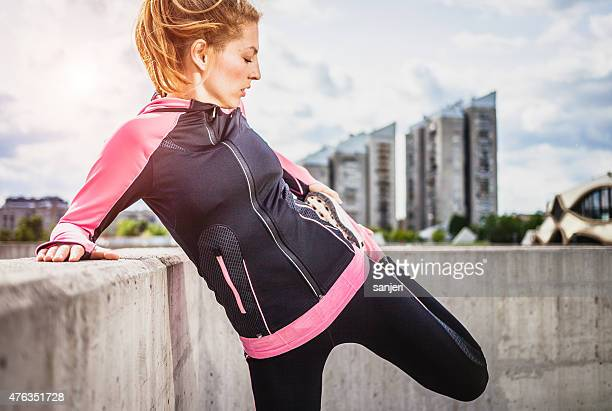 Exercising woman outdoors