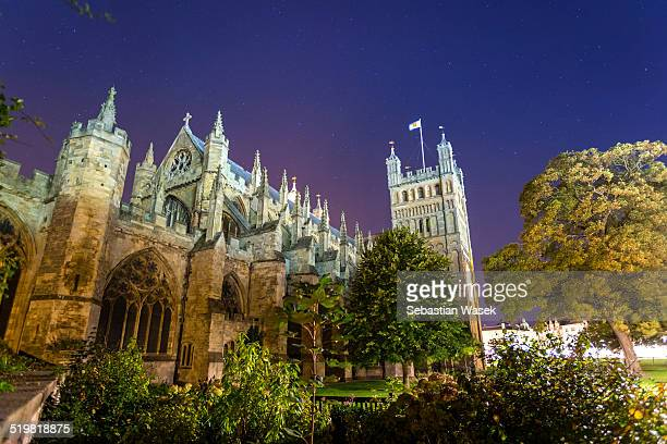 Exeter Cathedral at night.