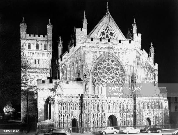Exeter Cathedral lit up at night