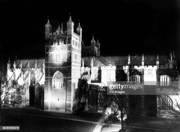 Exeter Cathedral lit up with floodlights at night