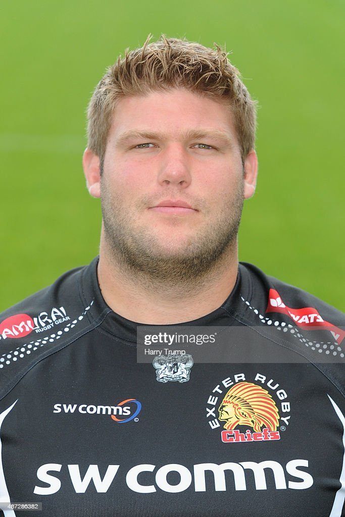 Exeter Chiefs Alex Brown poses during the photocall at Sandy Park on September 8 2015 in Exeter England