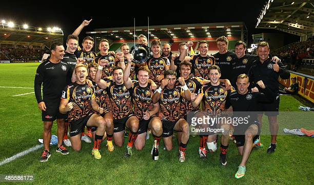 Exeter Chiefs celebrate aftering winning the Plate final during the Singha Premiership Rugby 7's Series finals at Twickenham Stoop on August 28 2015...