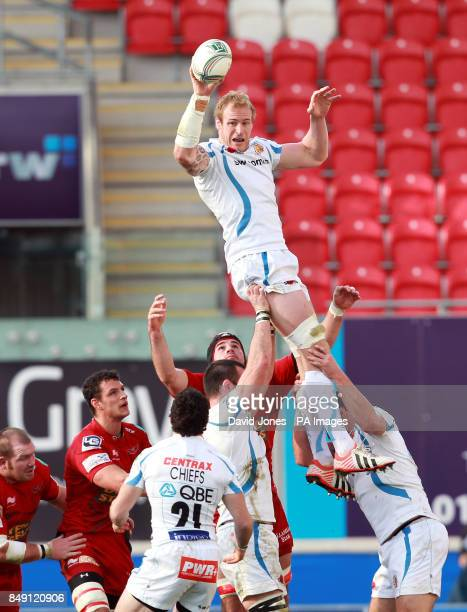 Exeter Chiefs' Damien Welch secures lineout ball against Llanelli Scarlets' during the Heineken Cup Pool Five match at Parc y Scarlets Llanelli