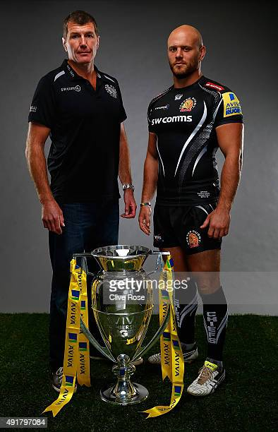 Exeter Chiefs head coach Rob Baxter and Jack Yeandle of Exeter Chiefs pose for a portrait during the Aviva Premiership Season Launch at Twickenham...