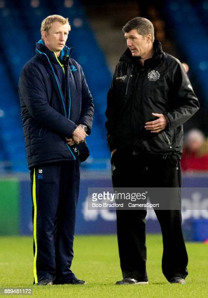 Exeter Chiefs' Head Coach Rob Baxter and Leinster's Head Coach Leo Cullen chat before kick off during the European Rugby Champions Cup match between...
